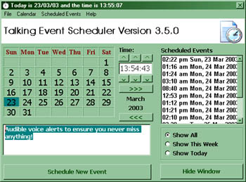 Talking Event Scheduler for the Blind